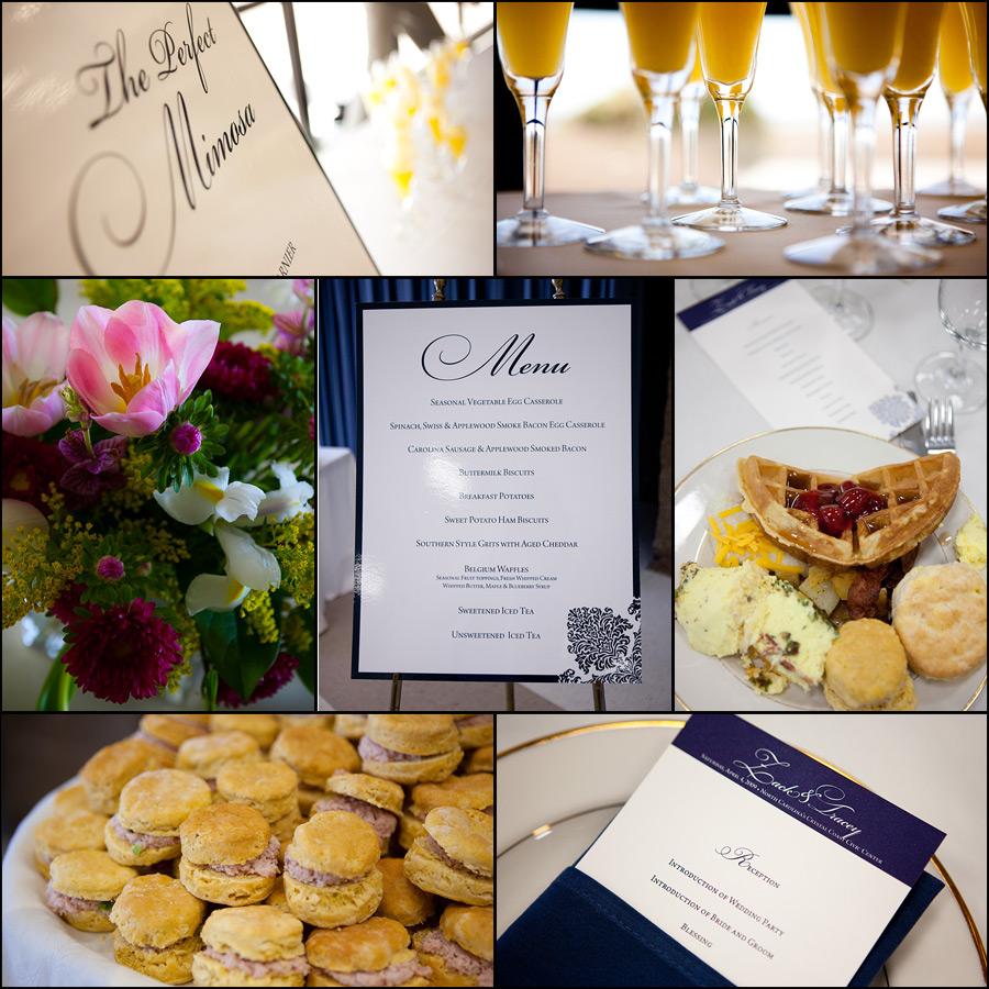 wedding brunch details, menu