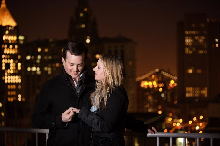 Couple engagement Picture with New York City Skyline at Night
