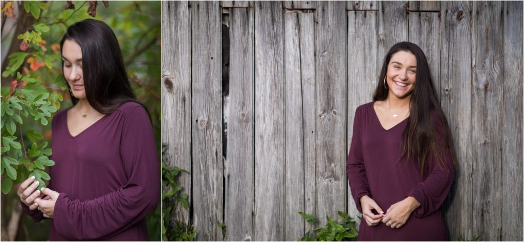 senior pictures with rustic wood backdrop