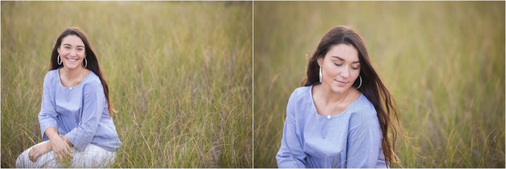 senior picture in beach grass