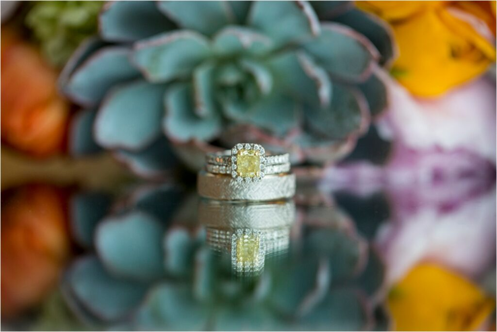Wedding rings with succulents