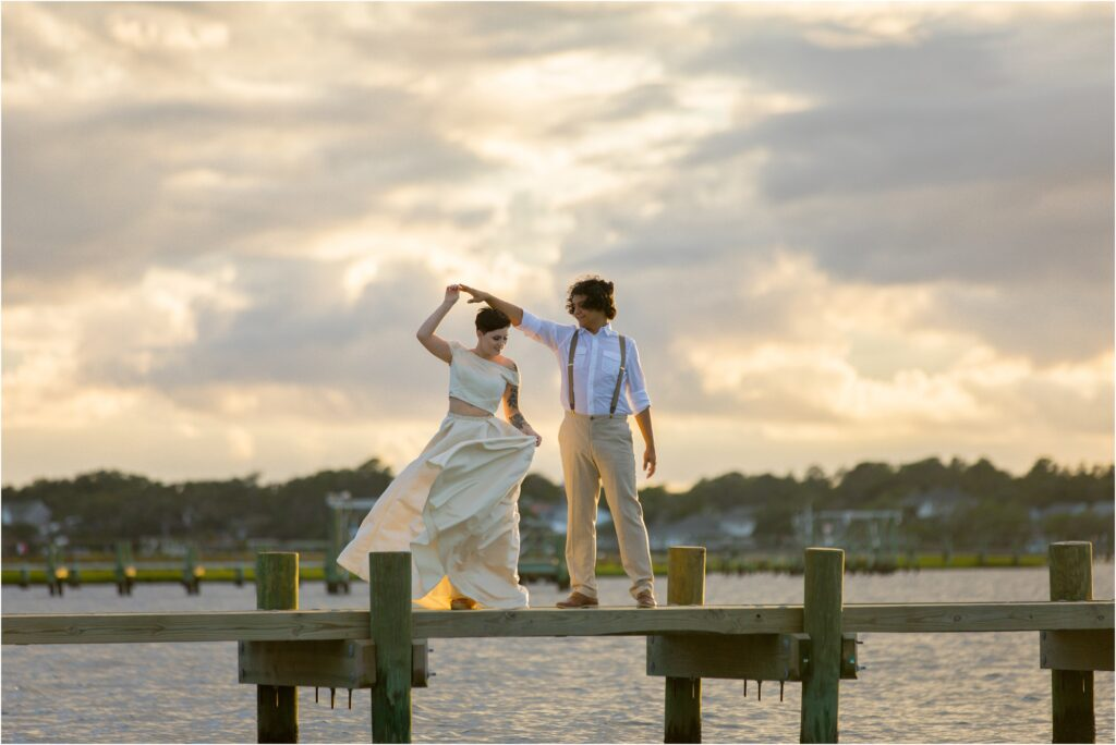 Sunset dock picture of Emerald Isle elopement