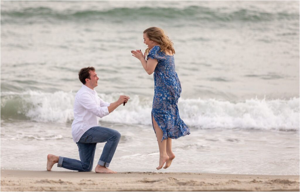 Surprise proposal at beach in Emerald Isle