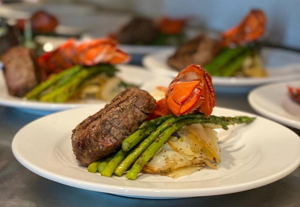 Whiskey Bravos steak and lobster dinner plate